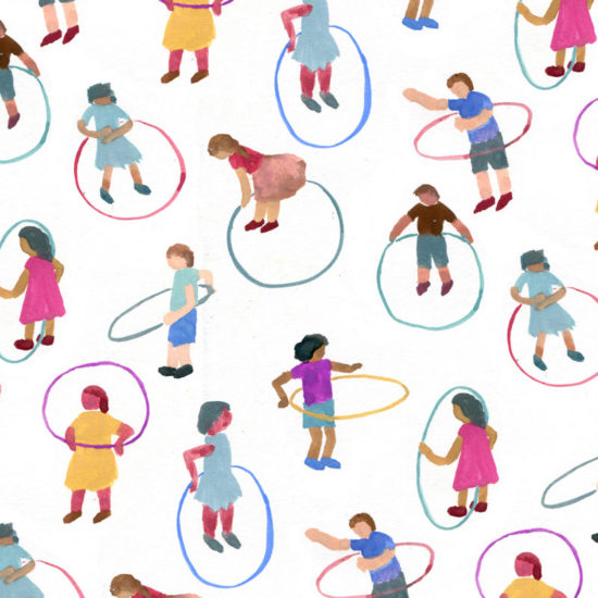 repeat, pattern, illustration, ilustración, gouache, kids playing, hula hoop, hula hula