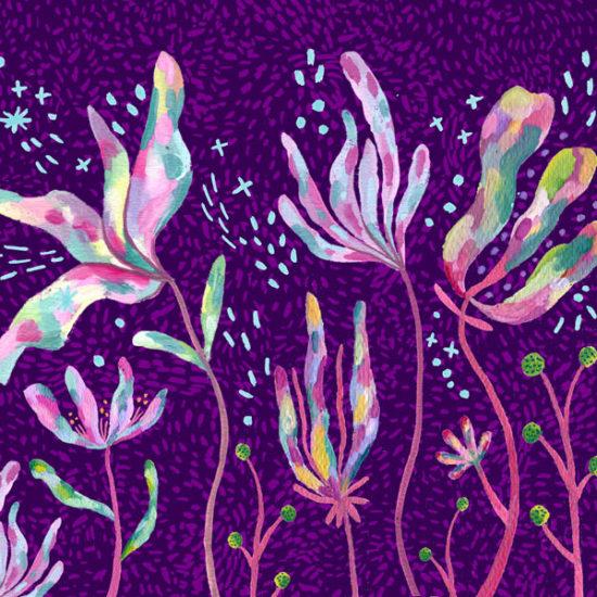 illustration floral, ilustración flores, gouache, Eliane Mancera