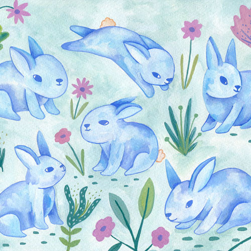 flowers and bunnies illustration. Ilustración de conejitos y flores Eliane Mancera