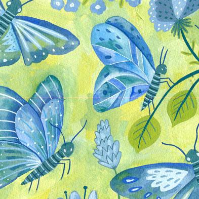ilustración mariposas, butterflies illustration, papillons, gouache, Eliane Mancera painting