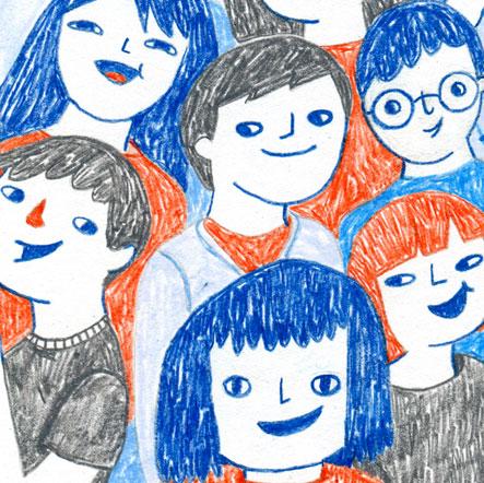 illustration, ilustración, gang, kids, clique, pandilla, niños