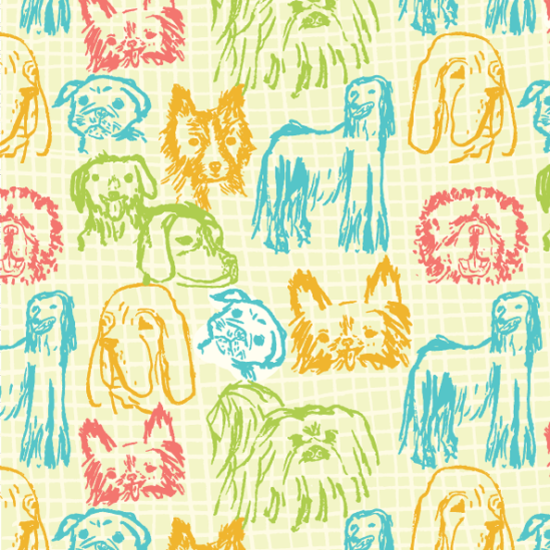 illustration, repeat, pattern, dogs, textile, ilustración, estampados, textil, perritos