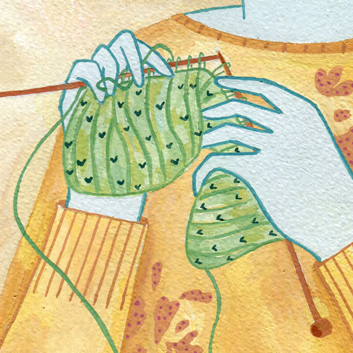 knitting, illustration, textile, gouache, textiles, tejido, agujas, ilustración