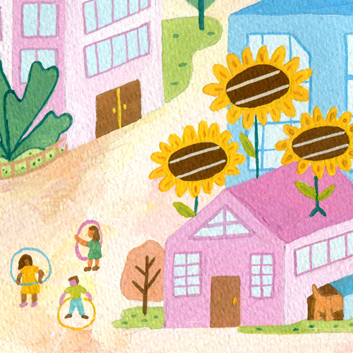 ilustración, illustraction, gouache, painting, city, solar energy.