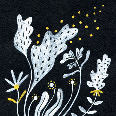floral illustration, gouache on paper, licensing