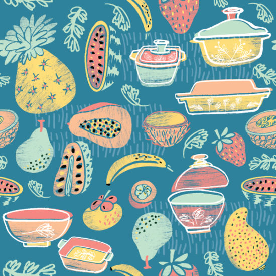 illustration, digital, surface design, pattern, textiles, fruits