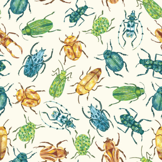 illustration, bugs, pattern, gouache, painting