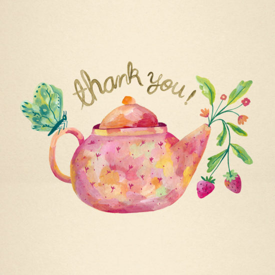 illustration, gouache, painting, pattern, repat pattern, surface design, greeting cards, strawberry, tea, tea pot, bear, tea lover